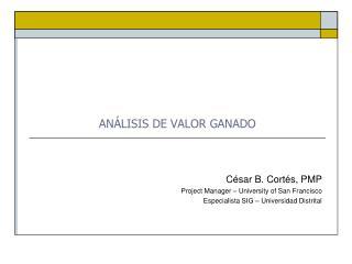 ANÁLISIS DE VALOR GANADO