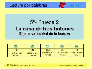 5º- Prueba 2 La casa de tres botones Elije la velocidad de la lectura