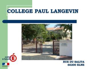 COLLEGE PAUL LANGEVIN