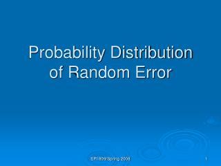 Probability Distribution  of Random Error