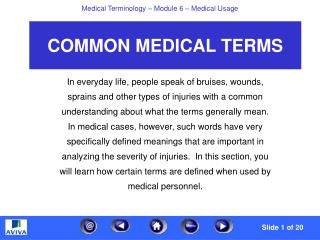 COMMON MEDICAL TERMS
