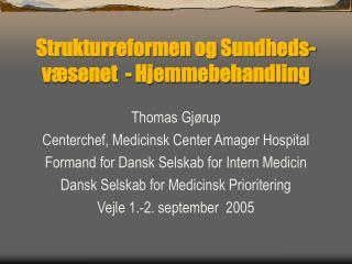 Strukturreformen og Sundheds-v senet  - Hjemmebehandling