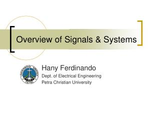 Overview of Signals & Systems
