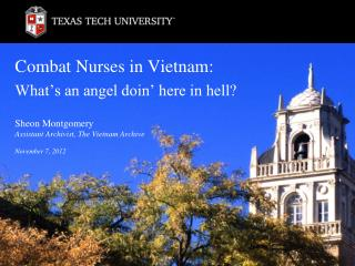 Combat Nurses in Vietnam: What�s an angel doin� here in hell?