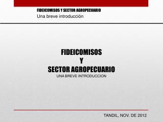 FIDEICOMISOS  Y  SECTOR AGROPECUARIO UNA BREVE INTRODUCCION
