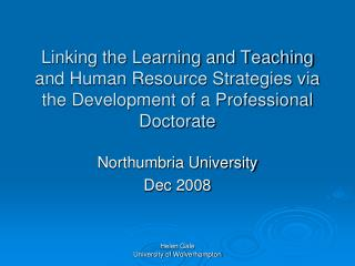 Northumbria University Dec 2008
