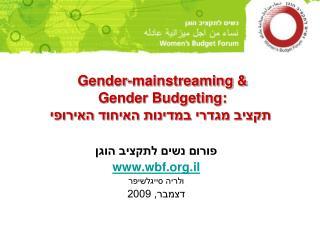 Gender-mainstreaming & Gender Budgeting: תקציב מגדרי במדינות האיחוד האירופי