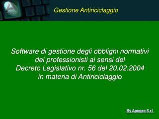 Software di gestione degli obblighi normativi dei professionisti ai sensi del
