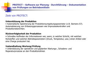 PROTECT – Software zur Planung - Durchführung – Dokumentation von Prüfungen an Betriebsmitteln