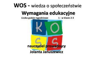 WOS -  wiedza o społeczeństwie Wymagania  edukacyjne Liczba godzin  tygodniowo  1 - w klasie 2-3