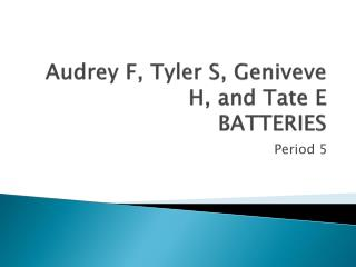 Audrey F, Tyler S,  Geniveve  H, and  Tate E BATTERIES