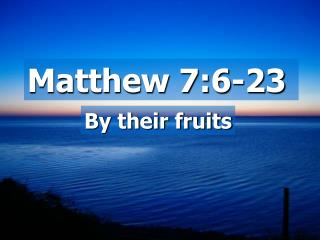 Matthew 7:6-23