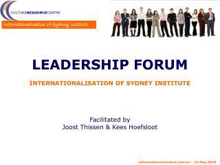 Leadership Forum Internationalisation of Sydney Institute