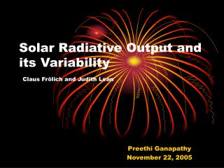 Solar Radiative Output and its Variability