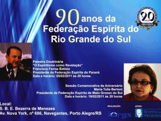 Noventa anos da Federação Espírita do Rio Grande do Sul