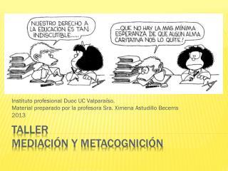Taller MEDIACIÓN Y METACOGNICIÓN