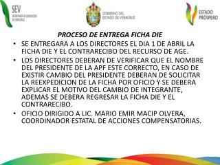 PROCESO DE ENTREGA FICHA DIE