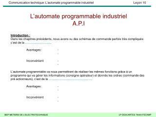 L'automate programmable industriel A.P.I