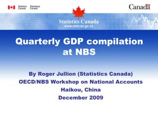 Quarterly GDP compilation at NBS