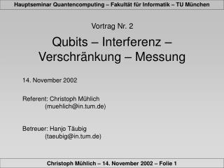 Vortrag Nr. 2