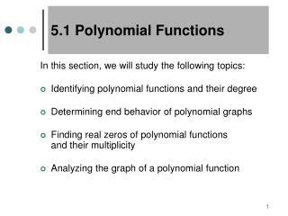 5.1 Polynomial Functions
