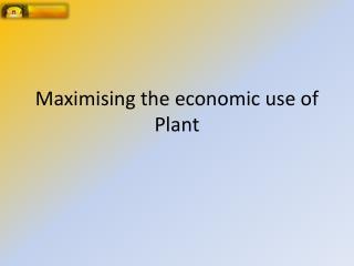 Maximising the economic use of Plant