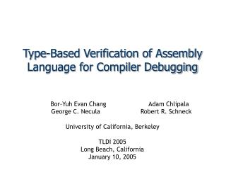 Type-Based Verification of Assembly Language for Compiler Debugging