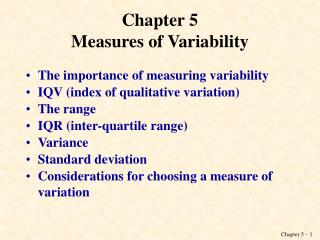 Chapter 5 Measures of Variability