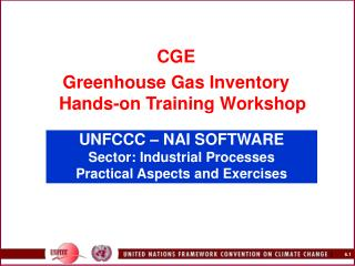 UNFCCC   NAI SOFTWARE  Sector: Industrial Processes Practical Aspects and Exercises