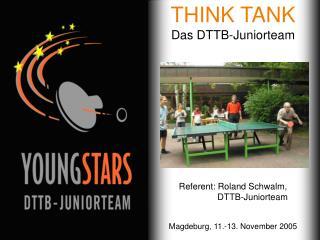 THINK TANK Das DTTB-Juniorteam Referent: Roland Schwalm,    DTTB-Juniorteam