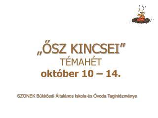 """""""ŐSZ KINCSEI"""" TÉMAHÉT október 10 – 14."""