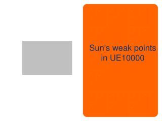 Sun's weak points in UE10000