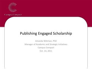 Publishing Engaged Scholarship