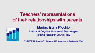 Teachers' representations  of their relationships with parents