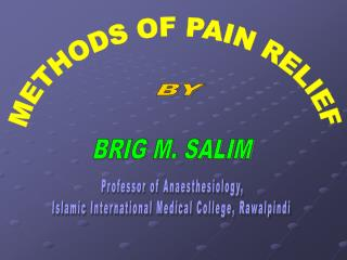 METHODS OF PAIN RELIEF