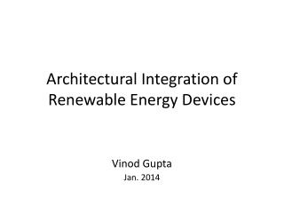 Architectural Integration of Renewable Energy Devices