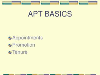 APT BASICS