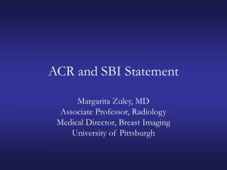 ACR and SBI Statement