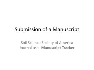 Submission of a Manuscript