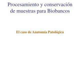 Procesamiento y conservación de muestras para Biobancos