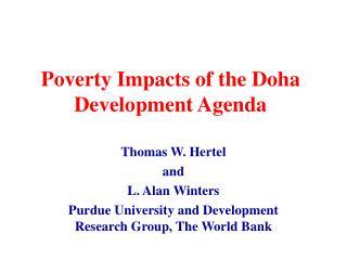 Poverty Impacts of the Doha Development Agenda