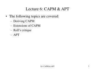 Lecture 6: CAPM  APT