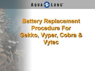 Battery Replacement Procedure For  Gekko, Vyper, Cobra & Vytec