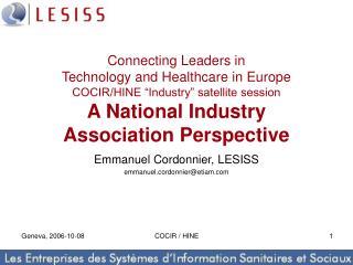 Emmanuel Cordonnier, LESISS emmanuel.cordonnier@etiam