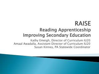 RAISE Reading Apprenticeship  Improving Secondary Education