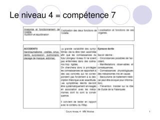 Le niveau 4 = compétence 7