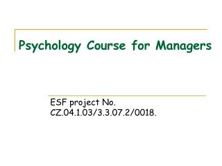 Psychology Course for Managers