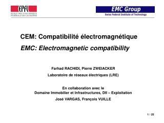 CEM: Compatibilité électromagnétique EMC:  Electromagnetic  compatibility