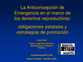 La Anticoncepción de Emergencia en el marco de los derechos reproductivos:
