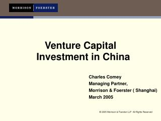 Venture Capital  Investment in China